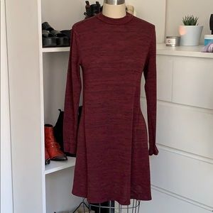 H&M mockneck knit long sleeve burgundy dress